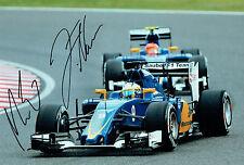 Marcus ERICSON & Felipe NASR Double SIGNED Sauber F1 Photo AFTAL COA Autograph