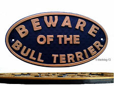 English Bull Terrier Beware Of The Dog Sign - Garden Sign Plaque - Black /Gold