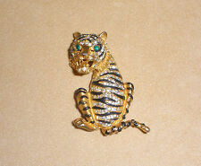 Unsigned Harrie Carnegie  Striped Tiger Pin w/ Pave Set Rhinestones & Green Eyes
