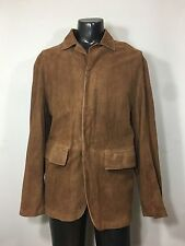 "Donna Karan New York Suede Leather Brown Jacket Coat Men's Size XL 50"" Chest"
