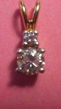14k genuine diamond solitaire with accent diamond pendent .23tcw