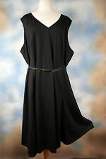 NEW $129 JONES NEW YORK COLLECTION STRETCH black career belted dress SZ: 24W