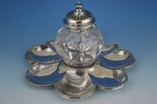 STERLING SILVER VICTORIAN INKWELL & STAND 1866