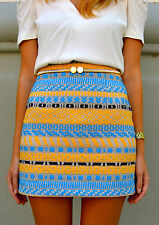 ZARA Yellow Blue Aztec Print Mini Skirt Bloggers Fav Size S Bloggers BNWT