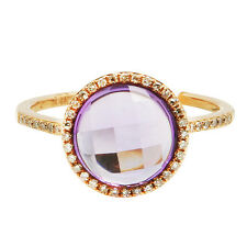 14K ROSE GOLD DIAMOND & CHECKERBOARD PINK AMETHYST HALO COCKTAIL ENGAGEMENT RING
