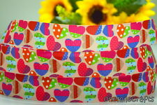 "5 YARDS CUTE LOVE VALENTINE DESIGN GROSGRAIN RIBBON 4 HAIRBOW 7/8"" INCH"