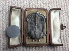 Antique Solid Silver Coin Mesh Purse
