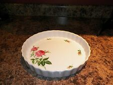 Christineholm Fluted Quiche Dish Tart Pan Pink Roses Pattern
