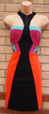 LOVE LABEL ORANGE BLACK PINK MULTI LONG NECK PENCIL BODYCON TUBE BLOCK DRESS 10
