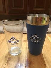 Pinnacle Vodka Cocktail Skaker Cup Stainless Steel with Logo Pint Glass NEW