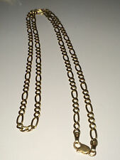 14K SOLID YELLOW GOLD 3mm FIGARO CHAIN 6.4 GRAMS GREAT DEAL!