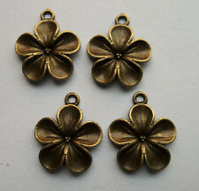 50 pcs bronze plated  flowers charm pendant 23 x 19 mm