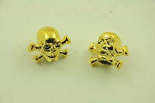 PAIR SKULL BIKE VALVE CAPS IDEAL CHRISTMAS PRESENT FOR BMX & ANY BIKE OWNER GOLD