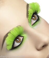 Ladies Long Green Feather False Eyelashes Moulin Rouge Hen Do Party Fancy Dress