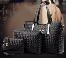 Fashion women handbag 3 pcs set composite bag solid casual tote color black