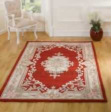 LARGE RED TRADITIONAL CHINESE AUBUSSON RUG - PREMIUM WOOL HAND TUFTED RUGS 8'x5'