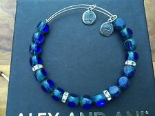ALEX and ANI COBALT Blue EDEN Russian SILVER Beaded RHINESTONE Bangle BRACELET