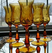 Antique Moser Amber Glass Tall Goblets Engraved Roses lot of Six