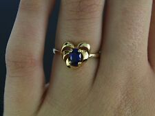 $995 Estate G.C 14K Yellow Gold 0.60ct Blue Oval Sapphire Heart Ring Band Sz 6.5