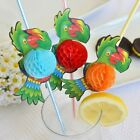"""Set of 8 Jumbo Multi Color Parrot Tropical Straw 3D Honeycomb 13.5"""""""