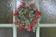 Christmas Door Wreath Faux Red Berry & Snowy Box Leaf 25cm