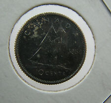 1958 Canada 10 cents Proof like nice toning