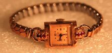 Estate Vintage Ladies Empire 14K Rose Gold Watch w/ 6 Rubies Colomby Watch Co D