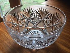 American Brilliant Cut Glass finger bowl. Hobstar chain and fans,star in middle.