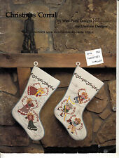 VINTAGE CHRISTMAS CORRAL COWBOY STOCKING ORNAMENTS COUNTED CROSS STITCH PATTERN