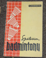BADMINTON GAME PLAYING EDUCATIONAL BOOK in LATVIAN LANGUAGE 1964