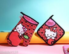 Hello Kitty Red Apple Cotton Quilted Hot Mitt Oven Kitchen Cooking Gloves KK550
