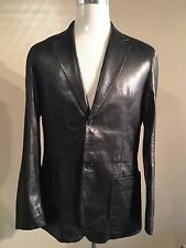 PRADA MILANO BLACK SOFT LEATHER BLAZER JACKET SIZE EU 50 LARGE RRP £1595 SUPERB