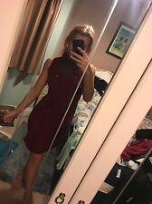 Size 12 Pretty Little Thing Deep Red Turtle Roll Neck Short Mini Shift Dress BNW