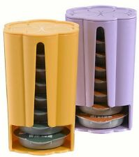 2 x Tassimo Koziol Stack T Disc Holders - Each Holds 8 Discs Yellow & Purple NEW