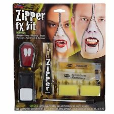 Halloween Vampire Zipper Face Kit Zip Teeth Fangs Special FX Makeup Gore