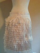 NEW J.CREW Collection Fringe feather silk mid-length skirt Sz 6 NATURAL