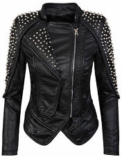 Ladies Biker jacket Faux Leather Jacket Studs Jacke Moto jacket S-L D-274 NEU