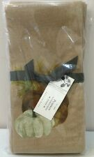 NWT Set of 4 Pottery Barn Fall PUMPKIN PAINTED Holiday Cotton Napkins