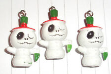Kawaii Nightmare Before Christmas plastic 3d Jack Snowman Charms  x 3 Kitsch