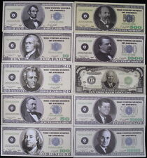 10-PIECE SET OF DIFFERENT REALISTIC GAME NIGHT NOVELTY/PROP BILLS $5 - $100,000!