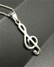 Fashion Musical tone Silver 316L Stainless Steel Titanium Pendant Necklace NEW