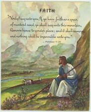VINTAGE JESUS CHRIST FLOWER GARDEN FARMER HORSE PLOUGH FIELD PICTURE CARD PRINT