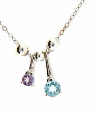 Sterling silver Topaz Amethyst Pendant Necklace Chain