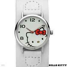 SANRIO HELLO KITTY BASE METAL w/ WHITE LEATHER WRIST BAND WATCH h3wl1000nonnf-wt