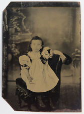 Antique Tintype Photograph - Young Child Sitting on a Chair, Cross Eyed