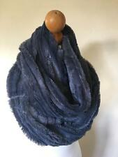 CHARCOAL GREY LADIES SNOOD SCARF COWL SOFT FLUFFY FUR WINTER GIFT IDEA