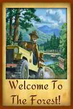 *SMOKEY BEAR JEEP SIGN * MADE IN USA! U.S. FOREST SERVICE RUSTIC LODGE WELCOME