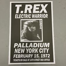 T REX MARC BOLAN - CONCERT POSTER PALLADIUM NEW YORK 15th FEBRUARY 1972 (A3SIZE)