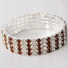Classic Womens Wristband 14K Gold Filled Orange CZ Stretch Chain Tennis Bracelet