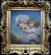 OLD MASTER BRITISH REGENCY GIRL PASTEL OIL PORTRAIT PAINTING 1800 GILT FRAME ART
